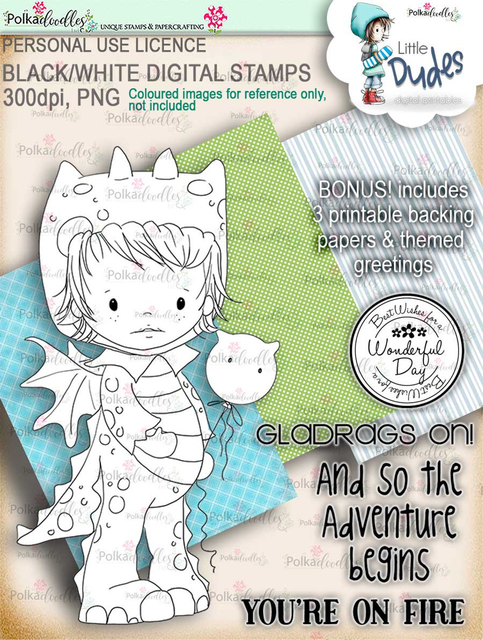 Polkadoodles Little Dudes Dragon Onesie Digital Stamp