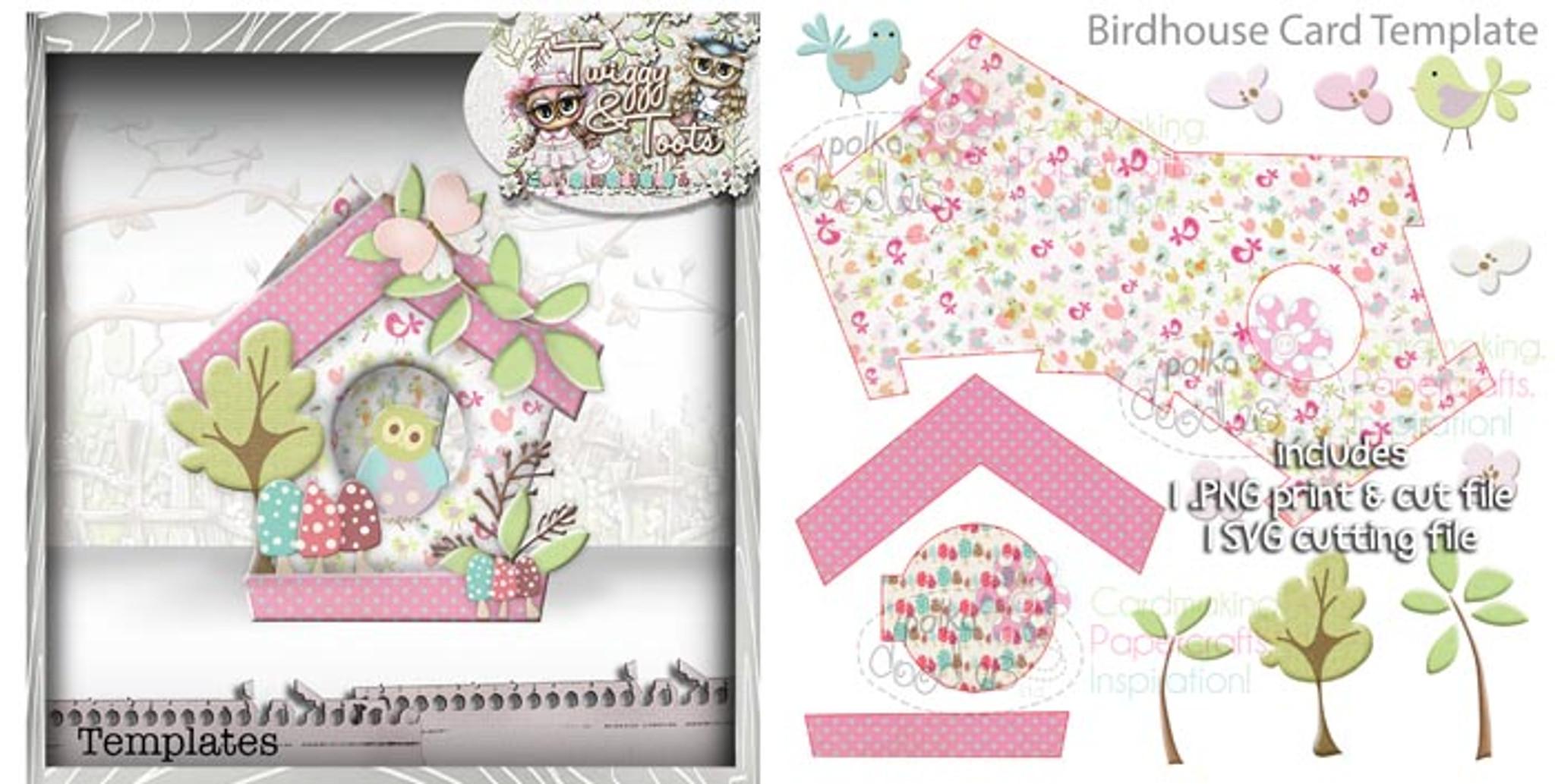 Birdhouse 2 Card Template SVG Cutting File