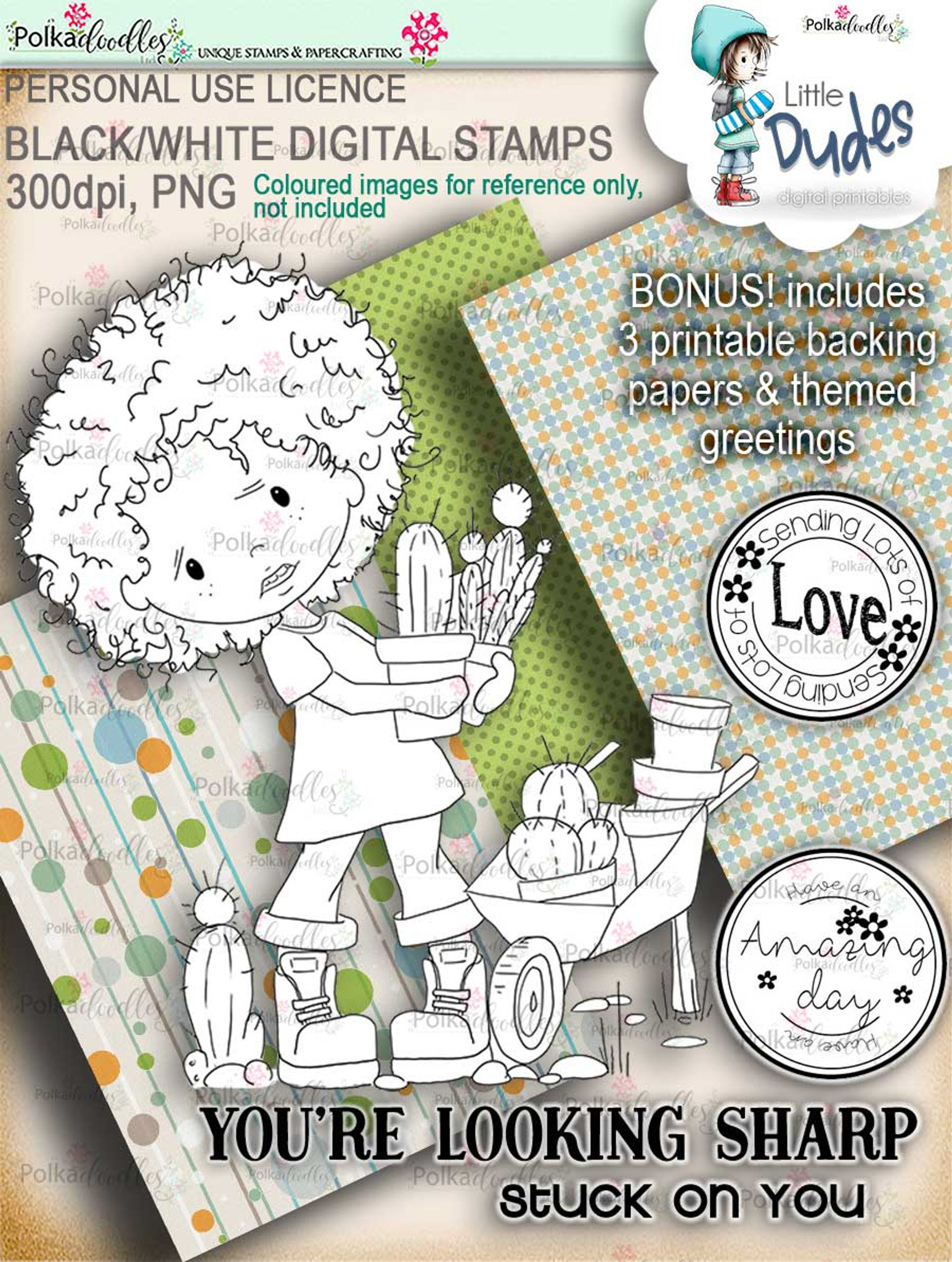 photo relating to Stamp Printable identify Prickly Tiny Male - Minimal Dudes digi stamp printable obtain