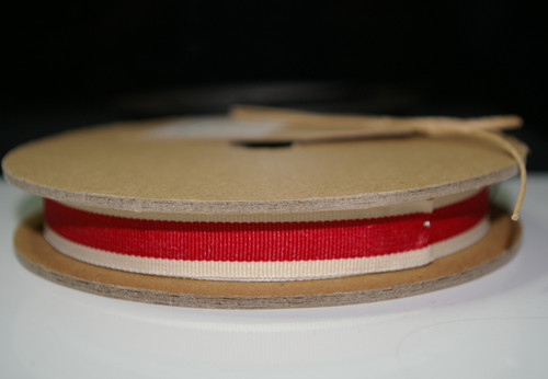 East of India Ribbon x 1m - Red/Cream Edge