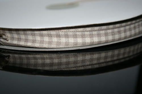 East of India Ribbon 1m - Gingham Grey