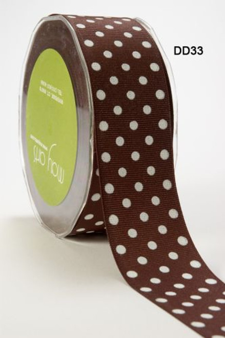 Chocolate/White Polka Dot Ribbon 16mm