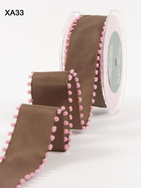 Brown/Pink PomPom Edge Wired May Arts Ribbon