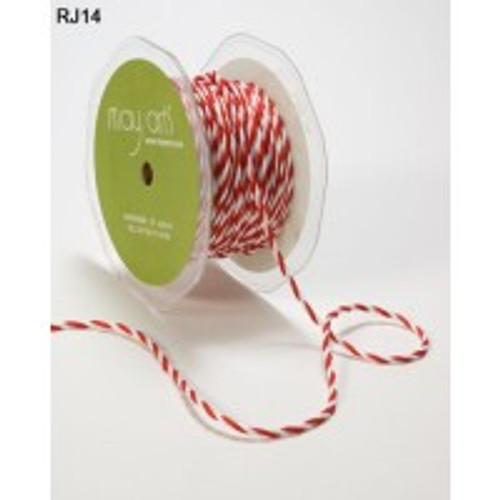 """Red/White 1/4"""" Twisted Cord May Arts Ribbon x 1m"""