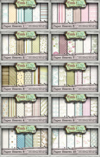 Work & Play 10 Paper Heaven 1-10 Digital Craft Download Bundle