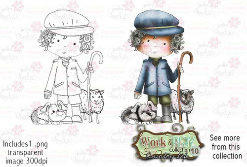 Farmer/Shepherd Digital Stamp - Work & Play 10 Digital Craft Download