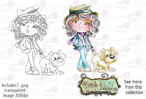 Dog Walking Digital Stamp - Work & Play 10 Digital Craft Download
