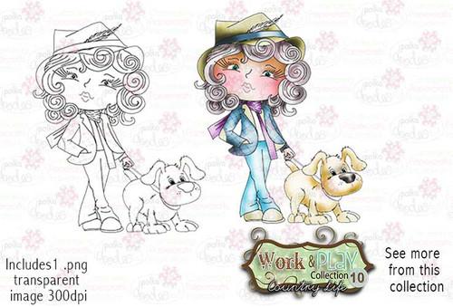 Dog Walking Digital Stamp - Work & Play 10 Digital Craft Download