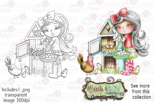 Egg Collecting Digital Stamp - Work & Play 10 Digital Craft Download