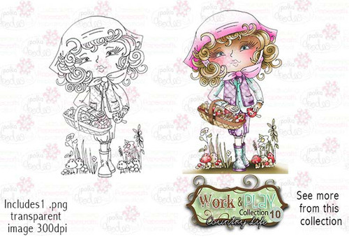 Foraging Mushrooms Digital Stamp - Work & Play 10 Digital Craft Download
