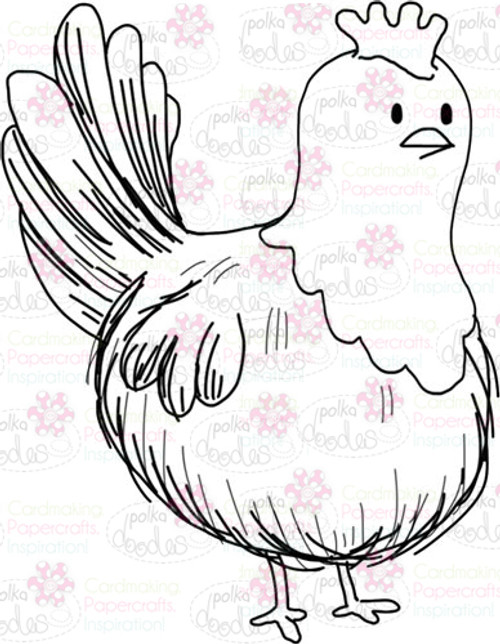 Black and white Hen/Chicken digital stamp craft download perfect for any paper craft