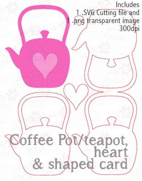 Coffee Pot Cutting File download - Coffee pot/teapot/Card Template
