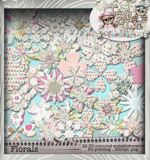 Twiggy & Toots Blooming Heaven bundle - Digital Craft Download