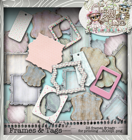 Twiggy & Toots Frame It bundle - Digital Craft Download