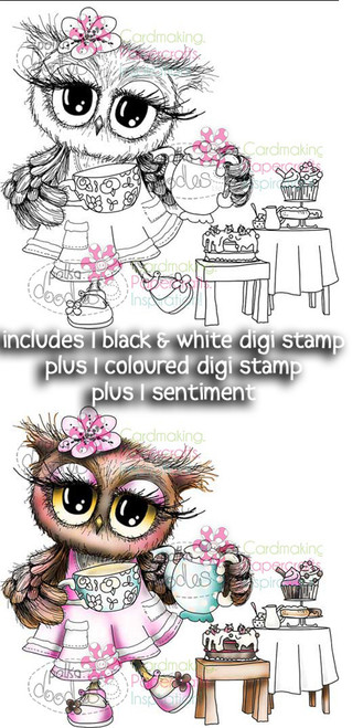 Tea for Twooo, Tea Party Twiggy & Toots - Digital Stamp Craft Download