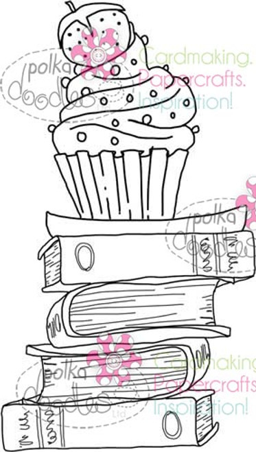 Cupcake on pile of books digital stamp download