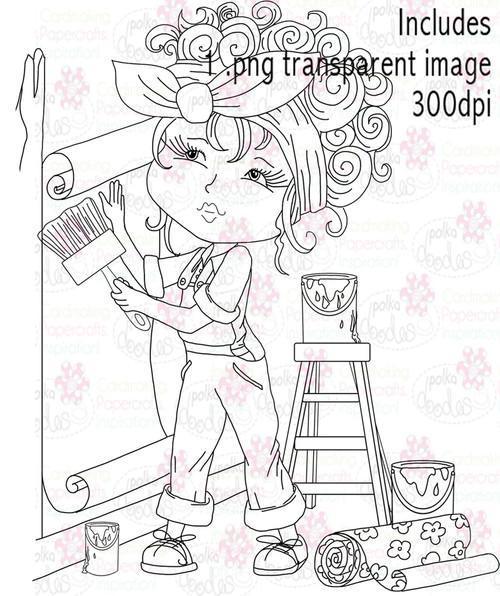 Female Painter, Decorator. Decorating - Digital Stamp Download