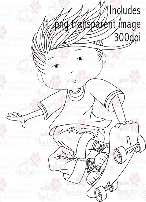 Skateboard, Skateboarder - Digital Stamp Download