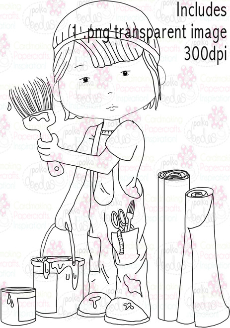 Painter, Decorator, Decorating - Digital Stamp Download