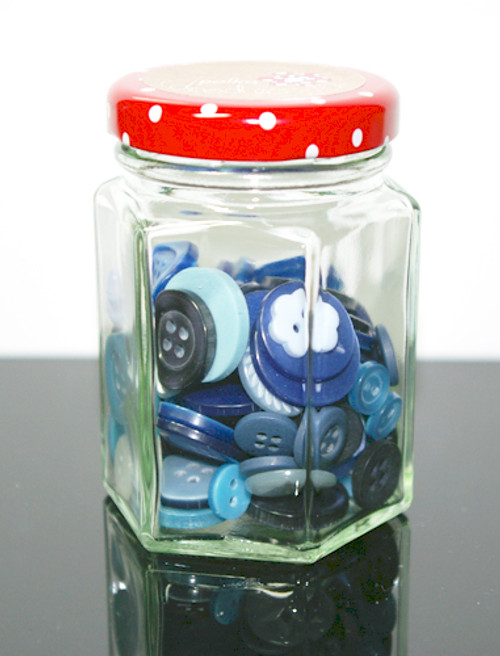 Button Jar Assortment - Blues