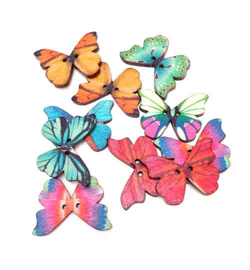 Butterfly Wooden Button Embellishments (10)