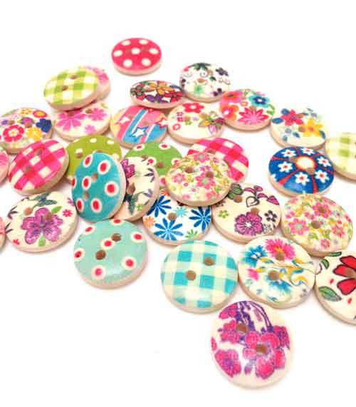 Country Wooden Button Embellishments (10)