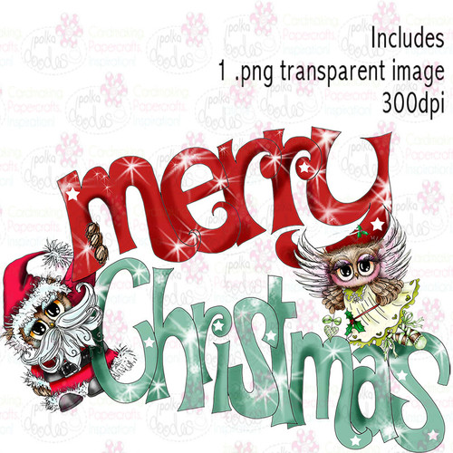 Merry Christmas - Twiggy & Toots - Digital Craft Stamp Download