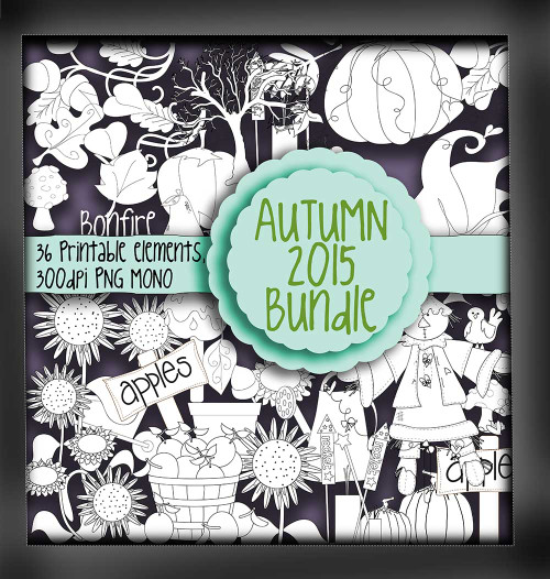 Autumn/Fall digi stamps - MONO - digital download bundle