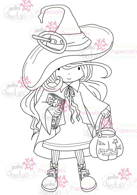 Spooky Witch - Mono - Halloween digital stamp download