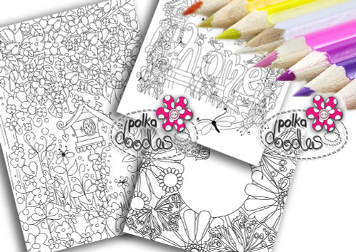 Adult Colouring pages bundle 5 - Downloadable Adult printable Colouring Book Pages