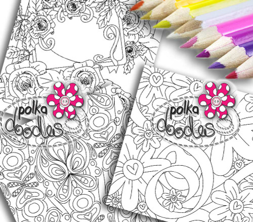 Adult Colouring pages bundle 6 - Downloadable Adult printable Colouring Book Pages