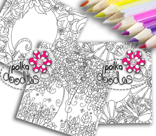 Adult Colouring pages bundle 7 - Downloadable Adult printable Colouring Book Pages