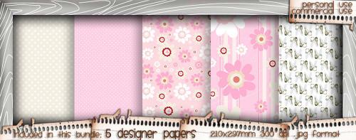 Love/Romance Love & Kisses paper bundle 1 - download printable digital stamp