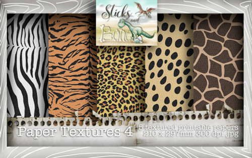 Sticks & Bones - Textured Animal print Papers 4 (5 papers A4) - Digital Stamp CRAFT Download