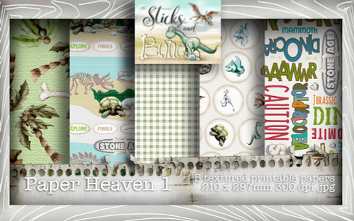 Sticks & Bones - Textured Dinosaur Papers 1 (5 papers A4) - Digital Stamp CRAFT Download