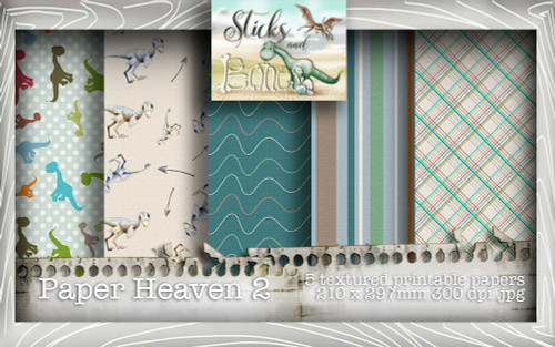 Sticks & Bones - Textured Dinosaur Papers 2 (5 papers A4) - Digital Stamp CRAFT Download