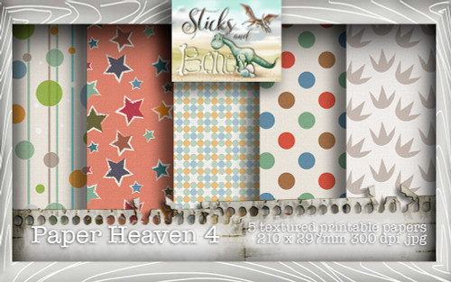 Sticks & Bones - Textured Dinosaur Papers 4 (5 papers A4) - Digital Stamp CRAFT Download