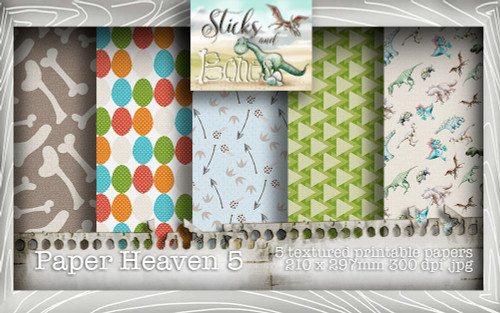 Sticks & Bones - Textured Dinosaur Papers 5 (5 papers A4) - Digital Stamp CRAFT Download