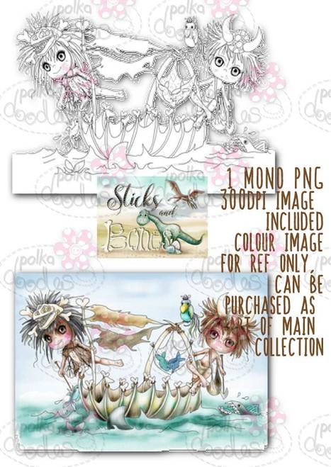 Sticks & Bones - Gone Fishing/Dinosaur - Digital Stamp CRAFT Download