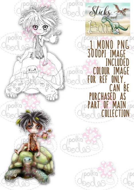 Sticks & Bones - Turtle Ride/Dinosaur - Digital Stamp CRAFT Download
