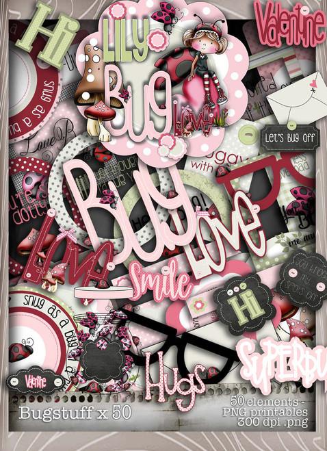 Lily Bug Love Stuff bundle kit (50 elements) - Digital Stamp CRAFT Download