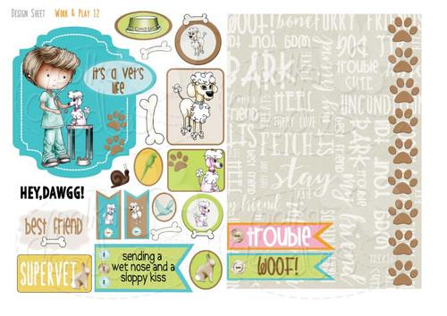 Work & Play 12 Design Sheet - Vet/Dog groomer - Digital Stamp CRAFT Download