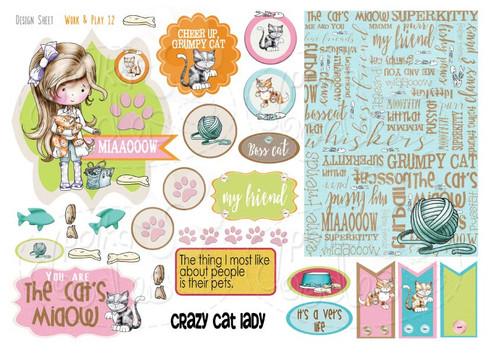 Work & Play 12 Design Sheet - Vet/Cat groomer - Digital Stamp CRAFT Download