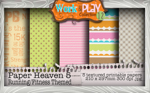 Work & Play 12 Paper Heaven 1 bundle kit - Girl Fitness (5 papers)