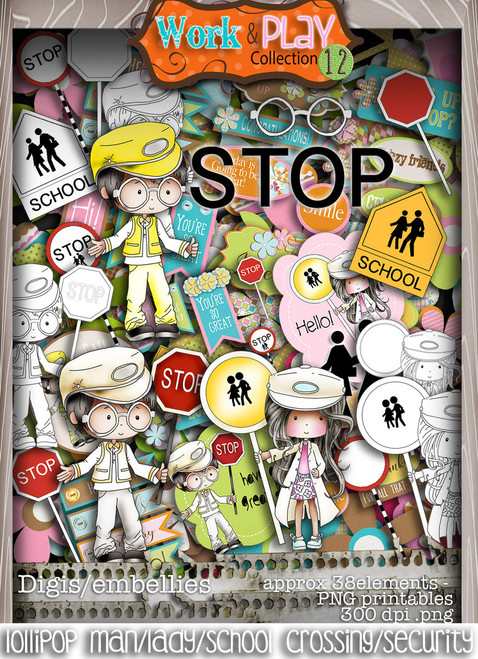Lollipop Lady, Lollipop Man, School Crossing Patrol/Security Guard bundle kit - Printable Crafting Digital Stamp Craft Scrapbooking Download