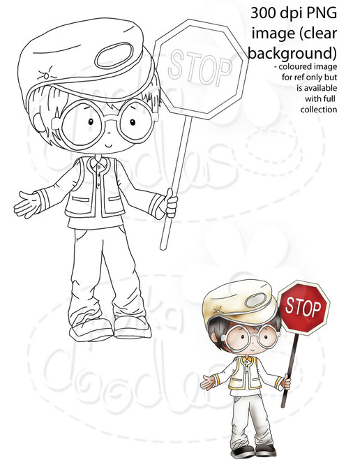 Lollipop Man, School Crossing Patrol/Security Guard Digital Stamp