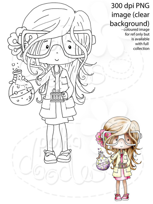 Girl Science/Maths/Teacher/Professor/Geek/Student/Chemisty Digital Stamp