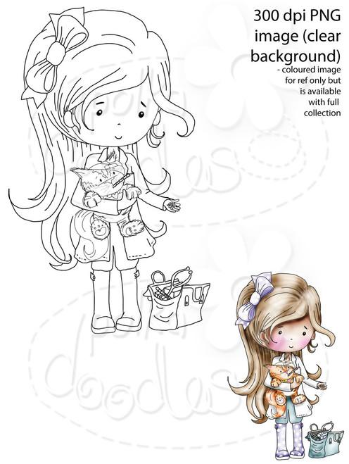 Lady Vet/Cat Grooming Digital Stamp
