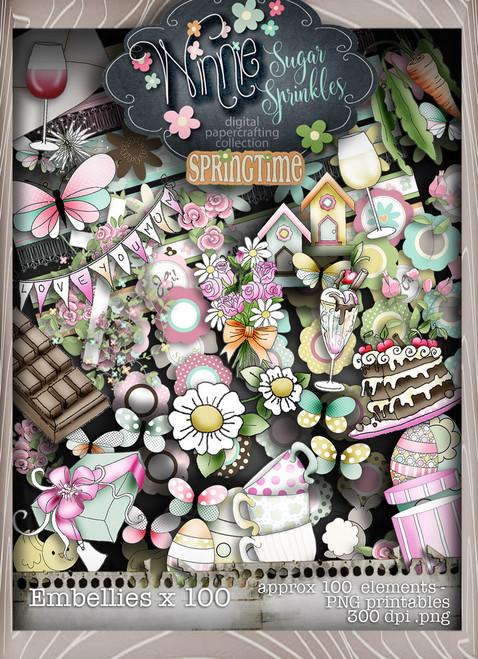 Winnie Sugar Sprinkles Embellies Bundle - Printable Crafting Digital Stamp Craft Scrapbooking Download