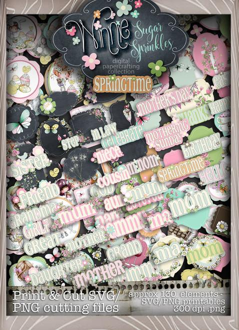 Winnie Sugar Sprinkles Print & Cut SVG/PNG files Bundle - Printable Crafting Digital Stamp Craft Scrapbooking Download
